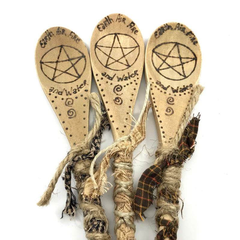 Hand Burned Kitchen Witch Spoons With Pentacle, Elements and Ribbon