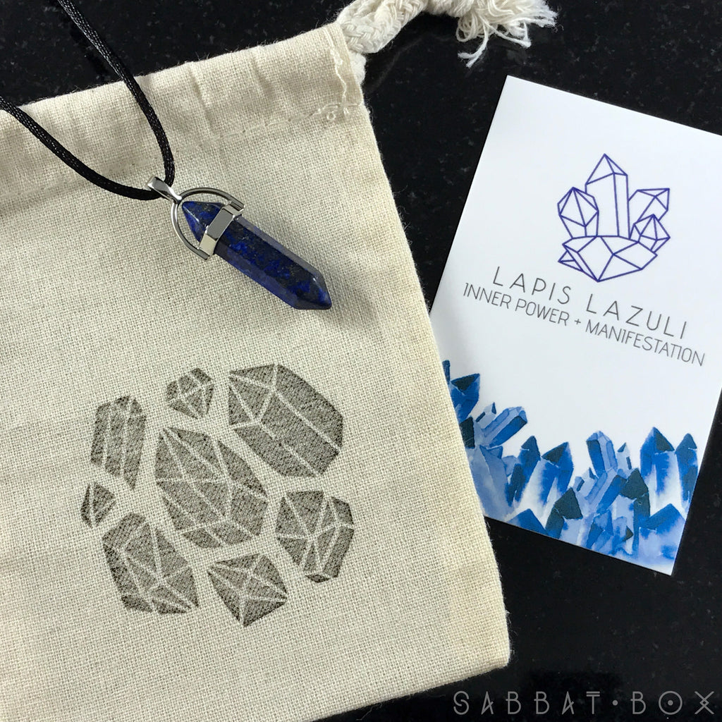 Lapis Lazuli Crystal Point Necklace - Crystal Intention Necklace - Sabbat Box