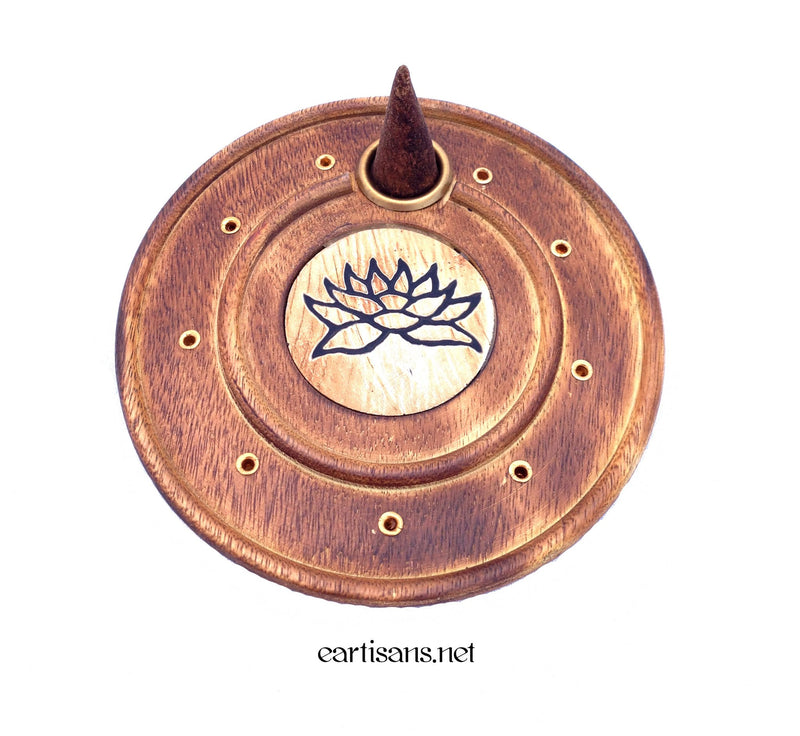 Round Lotus Stick and Cone Incense Burner Plate