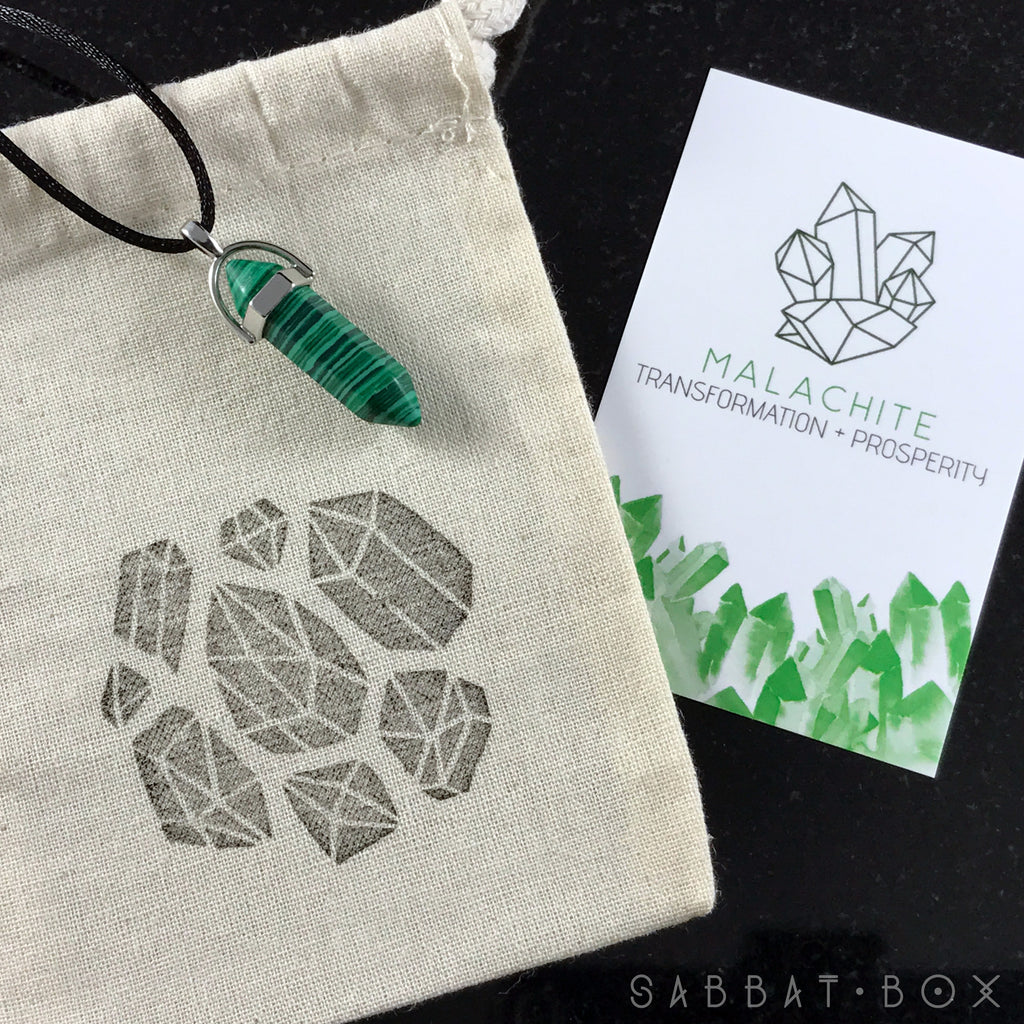 Malachite Crystal Point Necklace - Crystal Intention Necklace - Sabbat Box - Sabbat Box