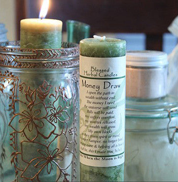 Money Drawing Blessed Herbal Pillar Candle