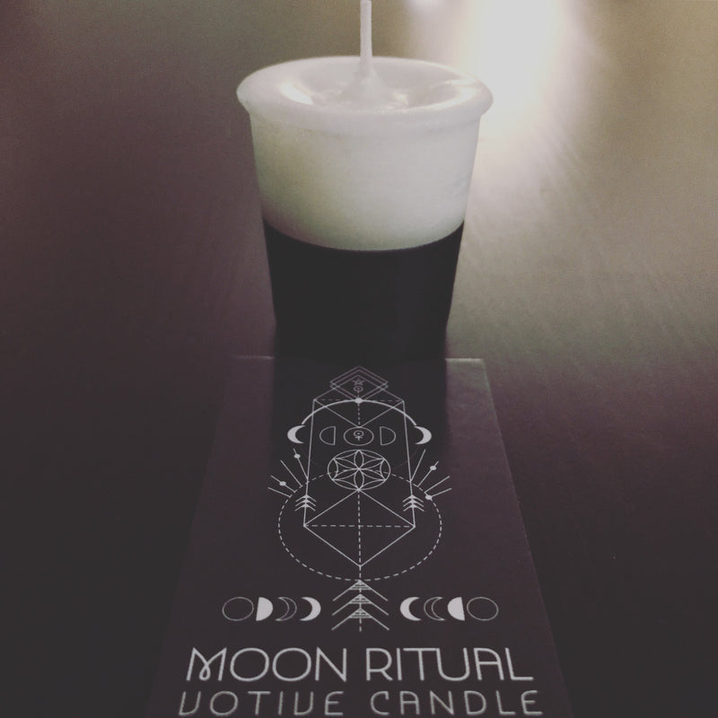 Moon Ritual Votive Spell Candle with Spell Card
