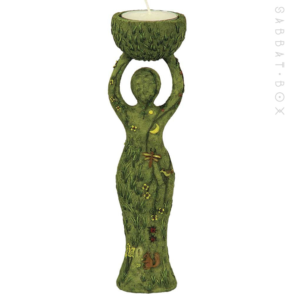 Nature Goddess Statue With Candle Holder