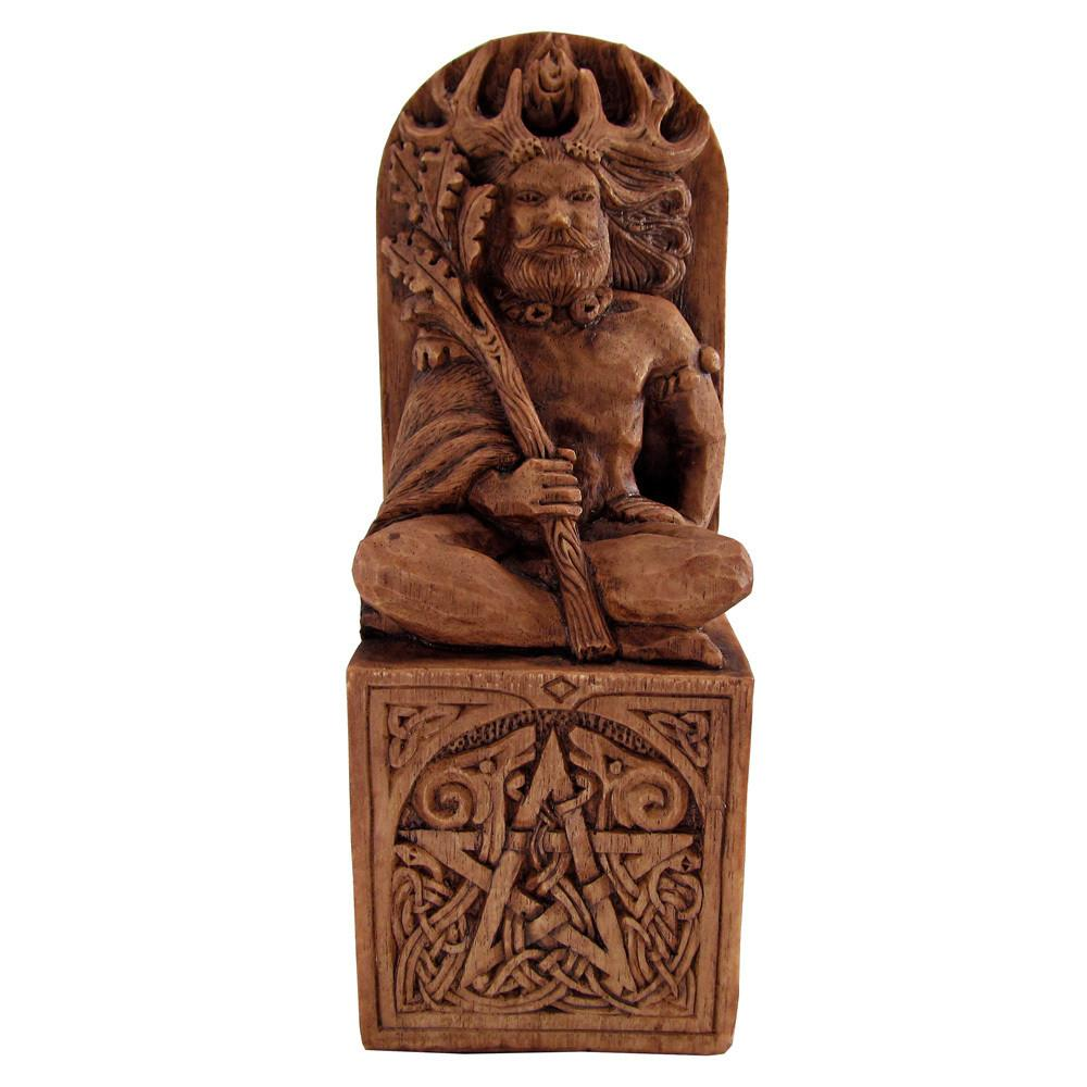 Pagan Horned God Cernunnos Statue - Wood Finish - Pagan God Statue By Paul Borda