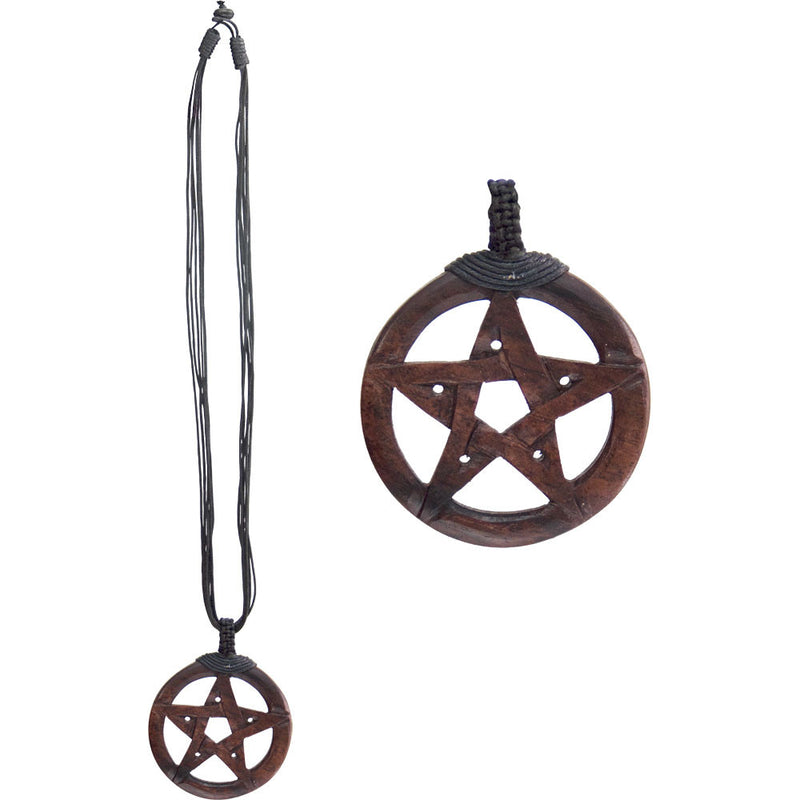 Wood Carved Pentacle Necklace