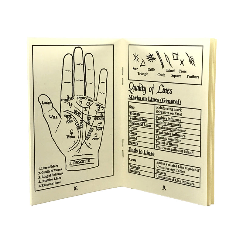 Palmistry Hand Booklet - Chiromancy Booklet - Sabbat Box