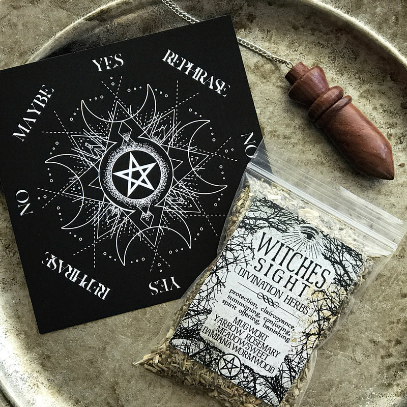 Sabbat Box Pendulum Set - Wood Chambered Pendulum With Pendulum Board and Divination Herbs
