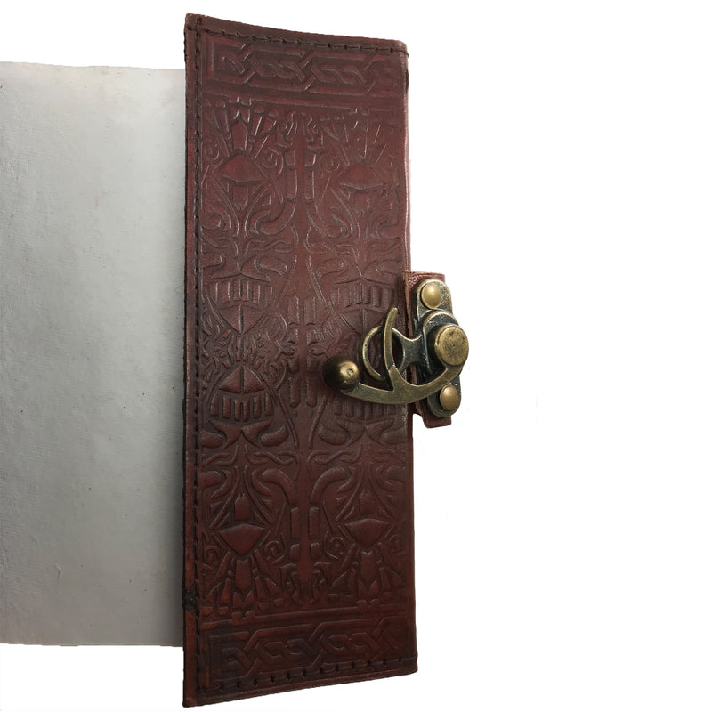 Brown Pentacle Leather Blank Book Of Shadows with Latch - Coptic Bound - Sabbat Box