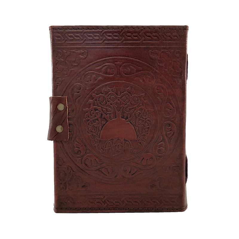 Brown Celtic Pentacle Leather Blank Book Of Shadows with Latch - Coptic Bound Book of Shadows - Sabbat Box