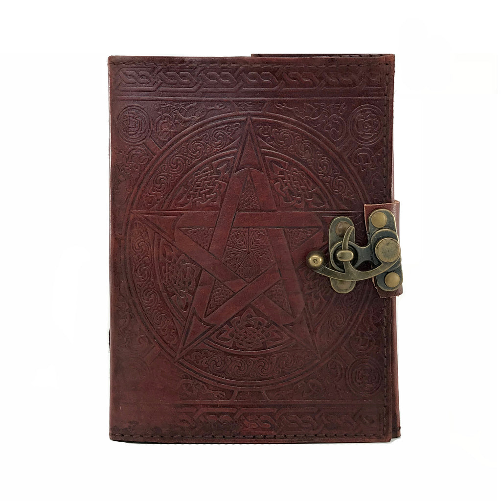 Brown Pentacle Leather Blank Book Of Shadows with Latch - Sabbat Box