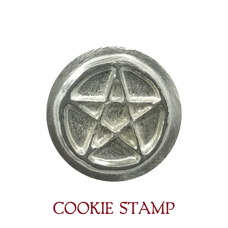 Pentacle Cookie Stamp Kit With Recipes and Linen Bag - Kitchen Witchery - Pentagram Cookie Stamp