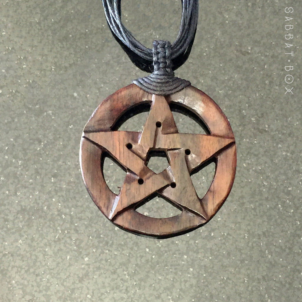 Pagan Pentacle Necklace Hand Carved