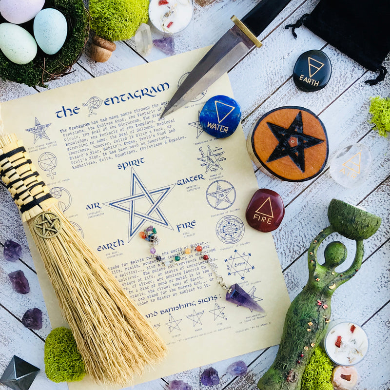 Pentagram Parchment - The Pentagram Book of Shadows Page - Sabbat Box