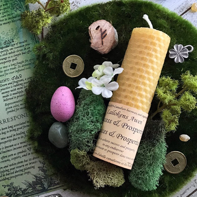 Success and Prosperity Beeswax Spell Candle By Lailoken's Awen - Sabbat Box