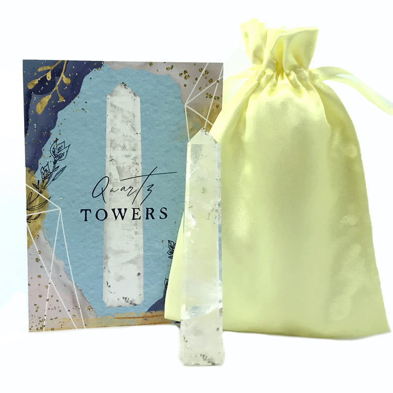 Clear Quartz Crystal Tower Set With Info Card and Bag - Sabbat Box