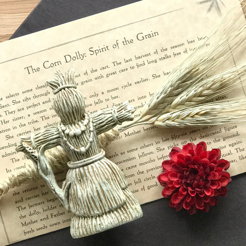 Corn Dolly Statue With Info Parchment - Sabbat Box