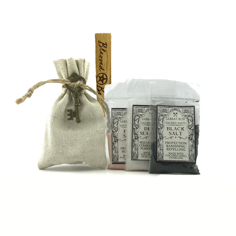 The Witches' Hearth Sacred Salt Kit w/Laser Etched Palo Santo