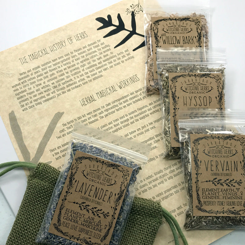 Sabbat Box Wiccan Herb Kit With Parchment and Jute Bag
