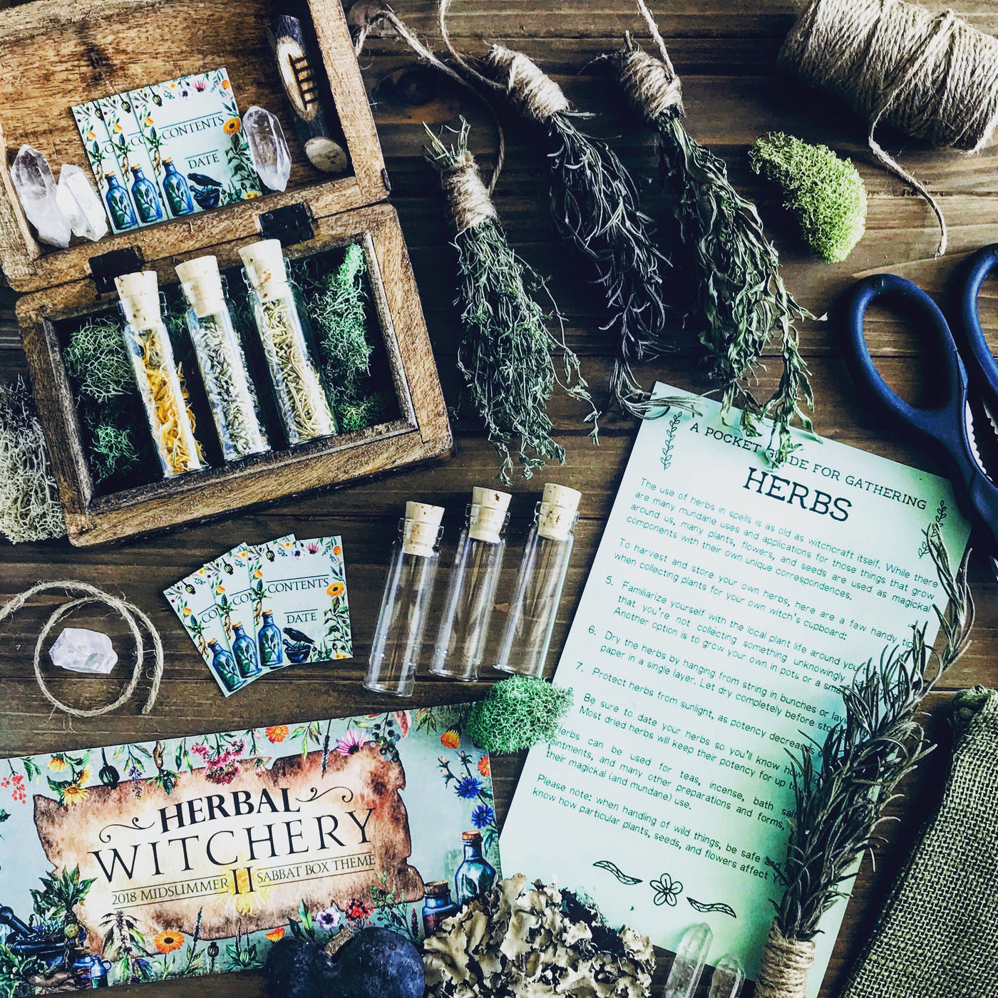 Green Witches' Herb Chest With Glass Vials and Labels