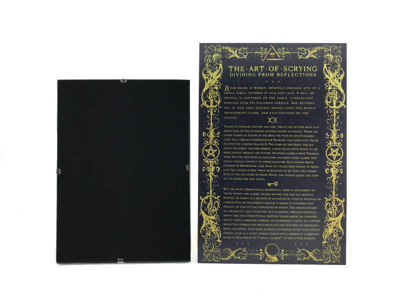Frameless Scrying Mirror Set With Info Guide and Velvet Bag - By Blue Moon Broom Brush and Besom - Sabbat Box