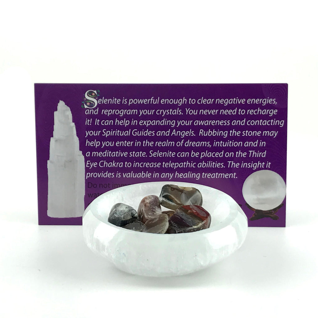 Selenite Crystal Bowl With Info Card - Sabbat Box