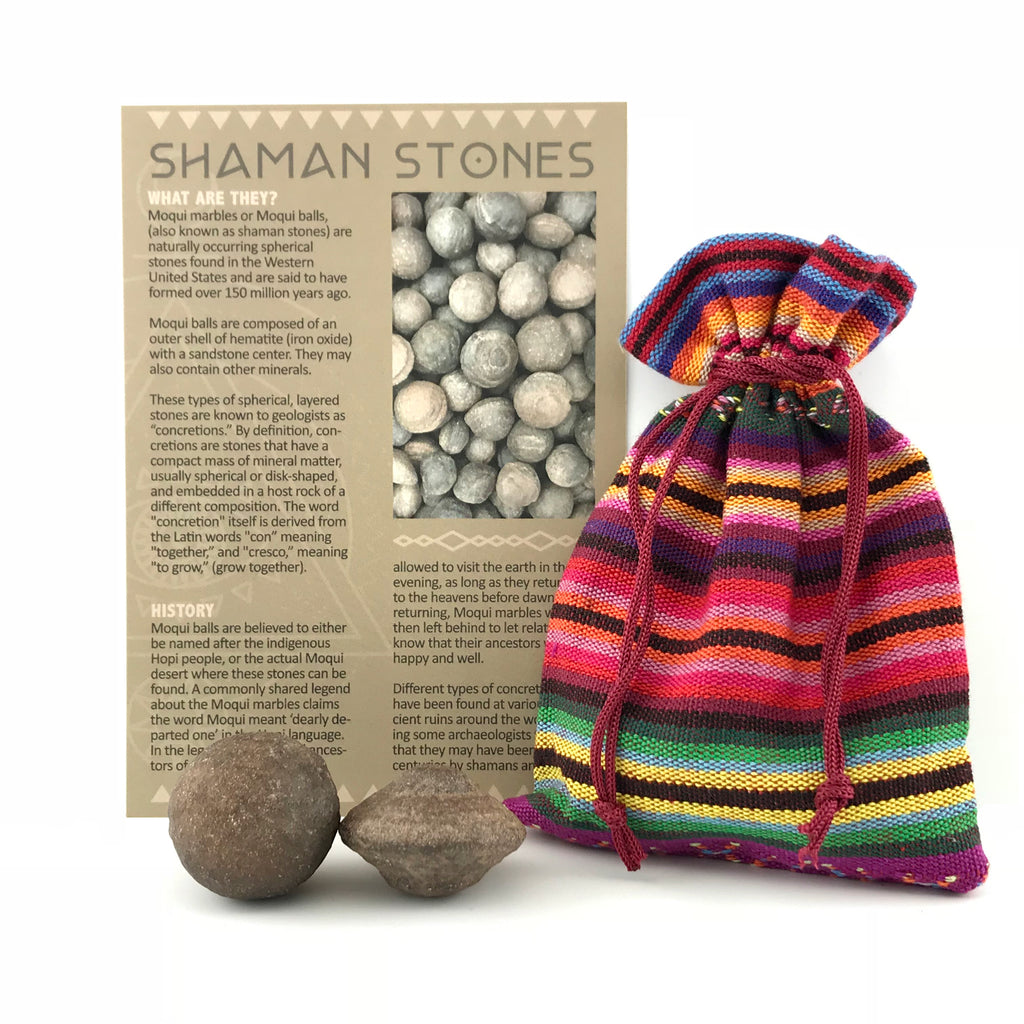 Shaman Stone Set Moqui Marble Set With Info Card and Bag - Sabbat Box