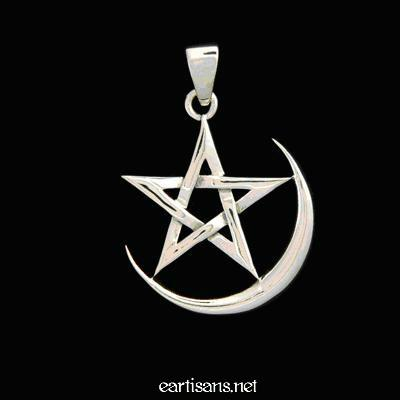 Sterling Silver Crescent Moon Pentagram Pendant