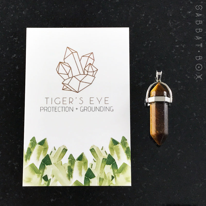 Tiger's Eye Crystal Point Necklace - Crystal Intention Necklace - Sabbat Box