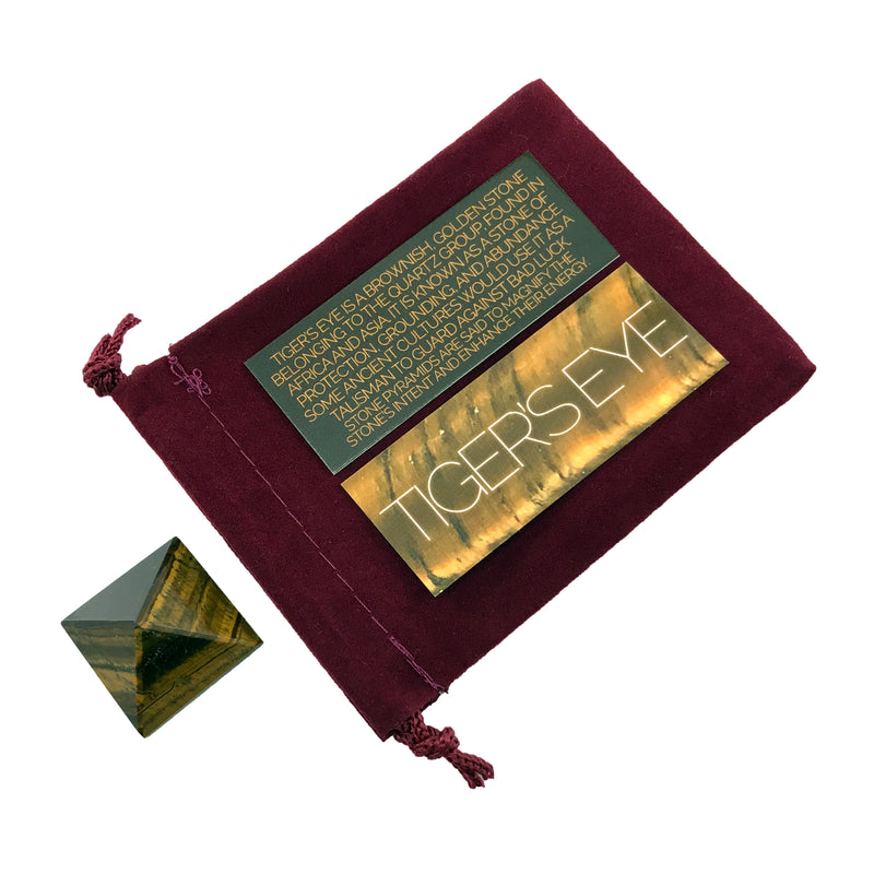 Tiger's Eye Crystal Pyramid Stone Set - Sabbat Box