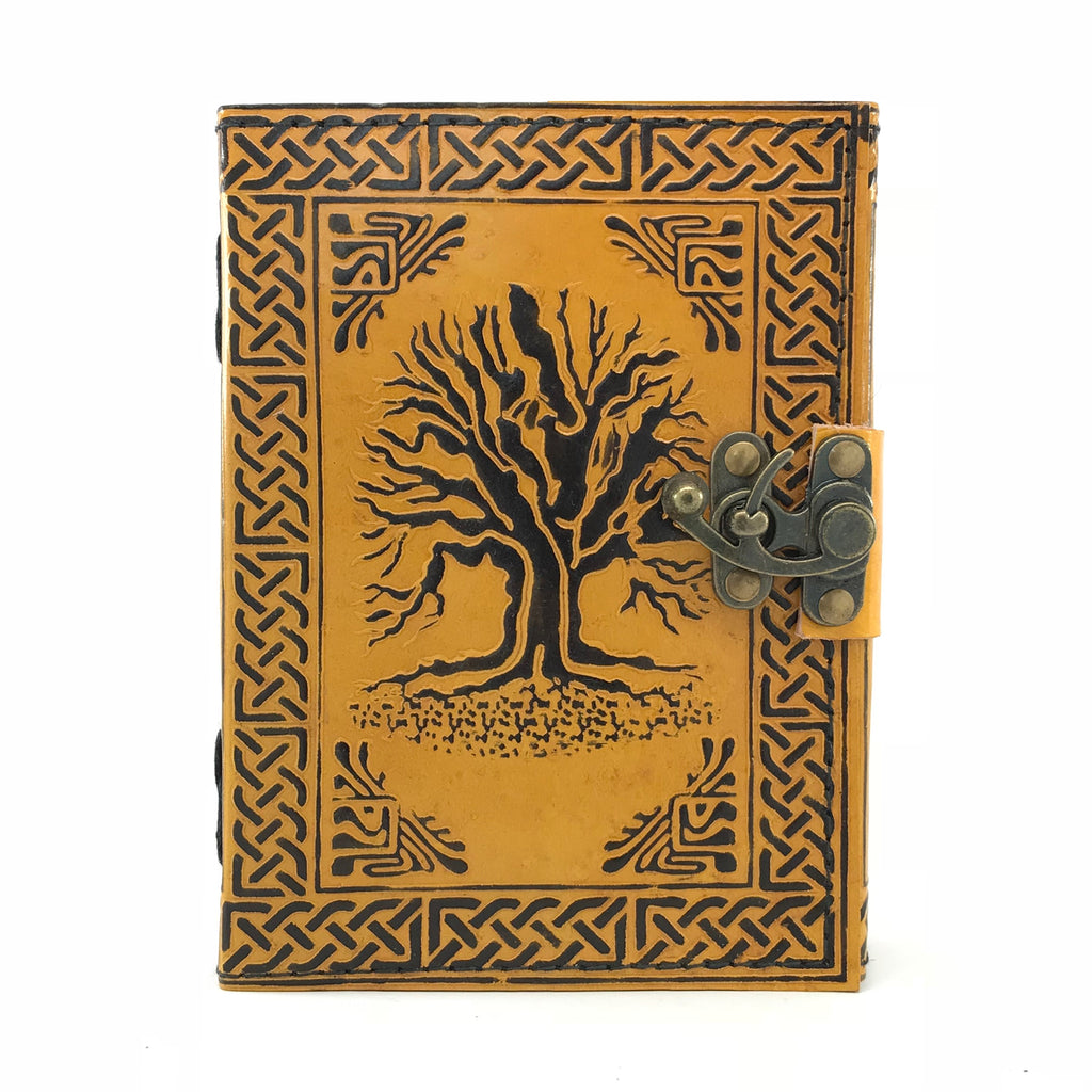 Tree of Life Leather Blank Book of Shadows With Latch - 5x7 - Sabbat Box