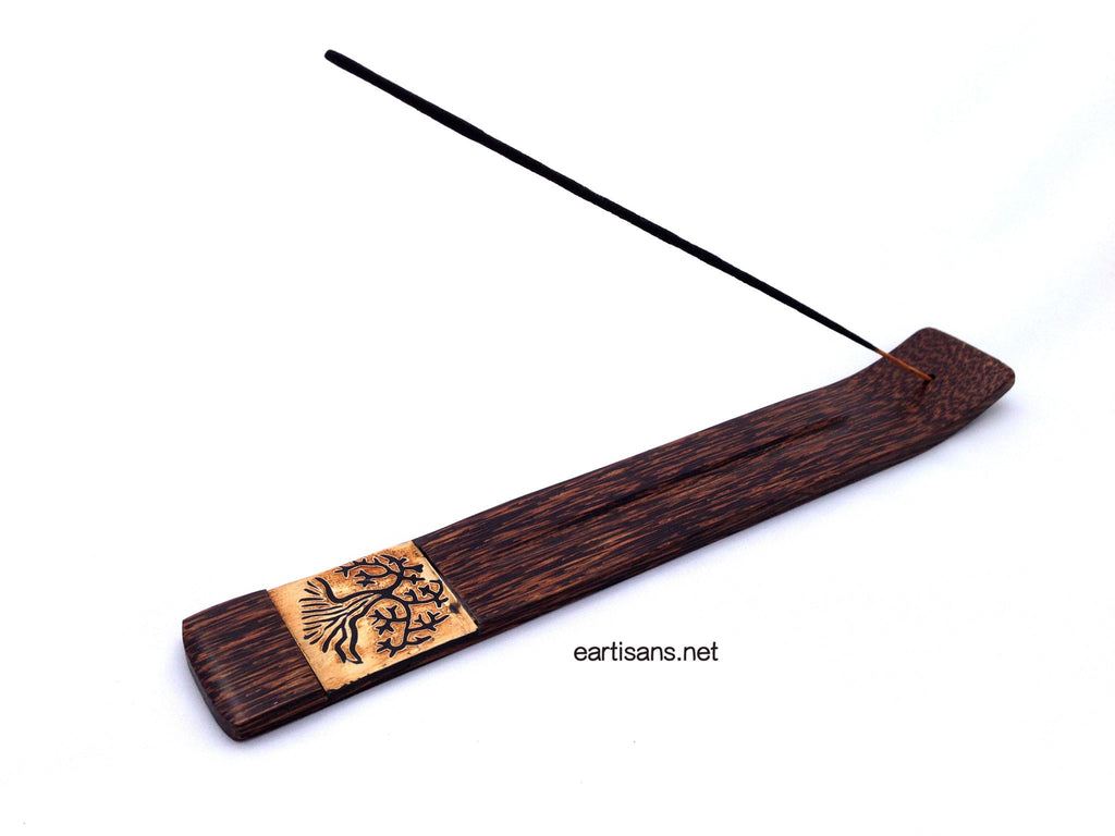 Hand Carved Tree Of Life Coconut Wood Stick Incense Holder