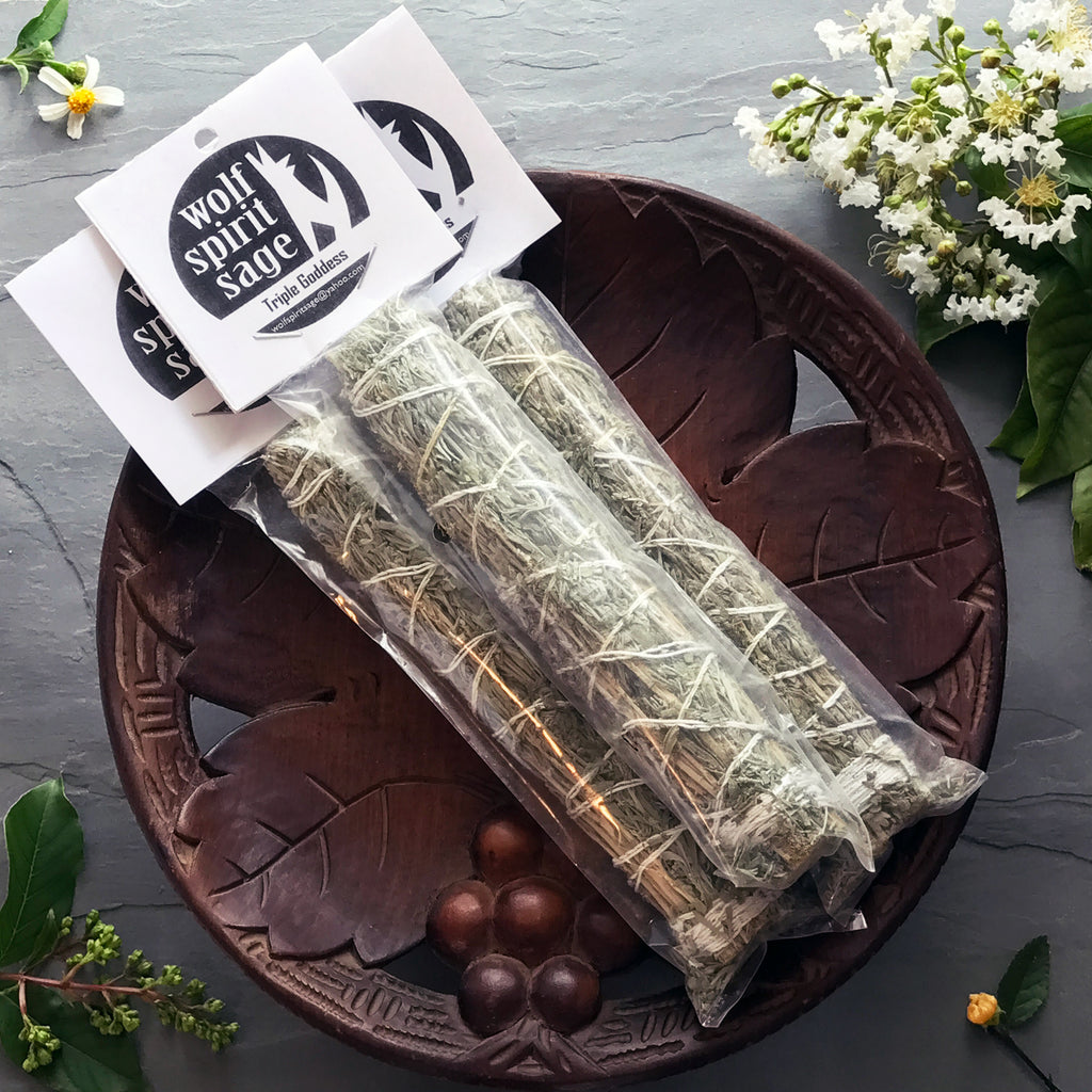 Triple Goddess Smudge Stick w/Maiden Sage, Motherwort, Croneswort and Blue Sage - Sabbat Box