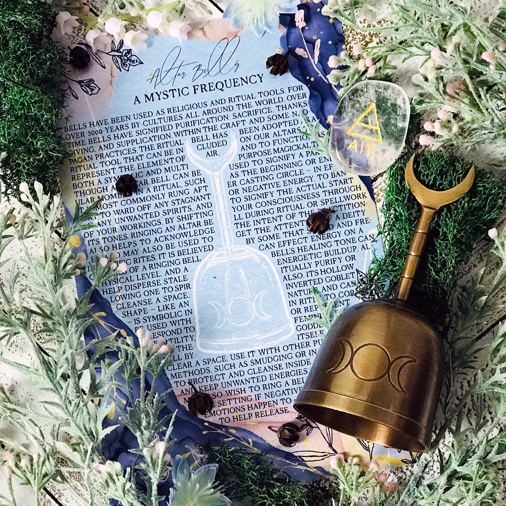 Triple Moon Altar Bell Kit With Info Card and Satin Bag - Sabbat Box