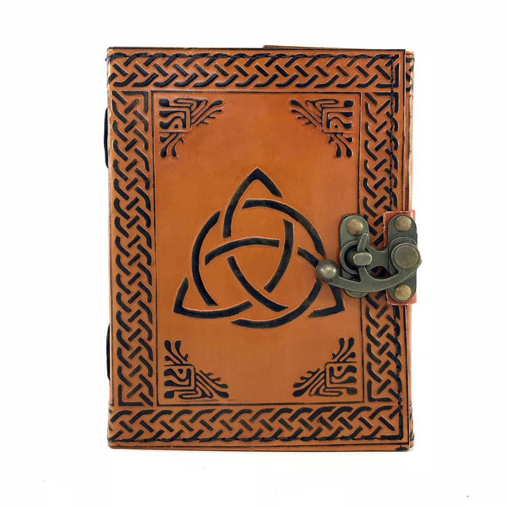 Triquetra Leather Blank Book With Latch - Sabbat Box