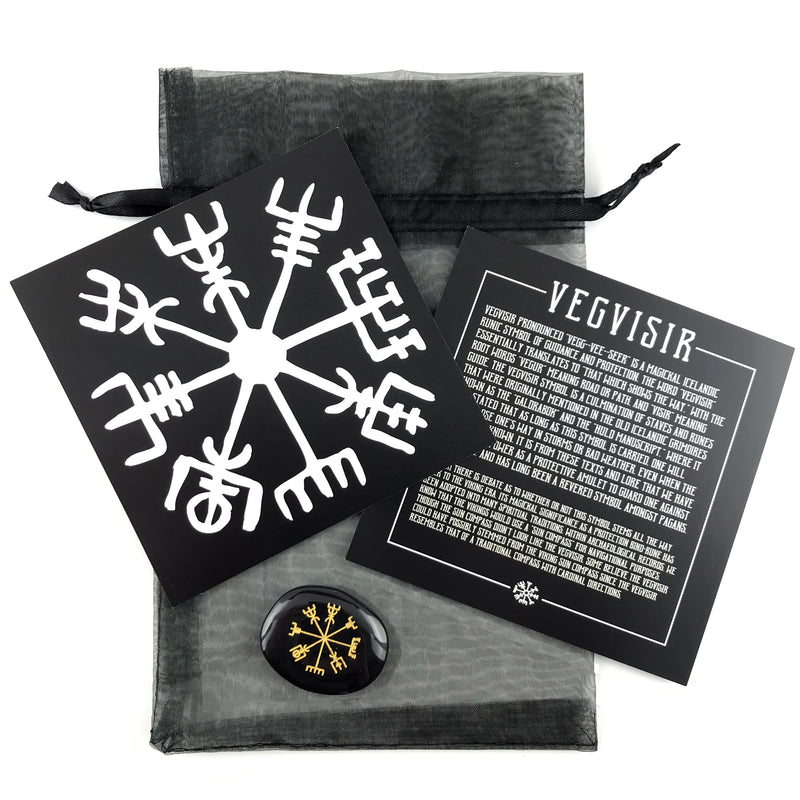 Vegvisir Stone Talisman Set w/Info Card and Bag - Sabbat Box