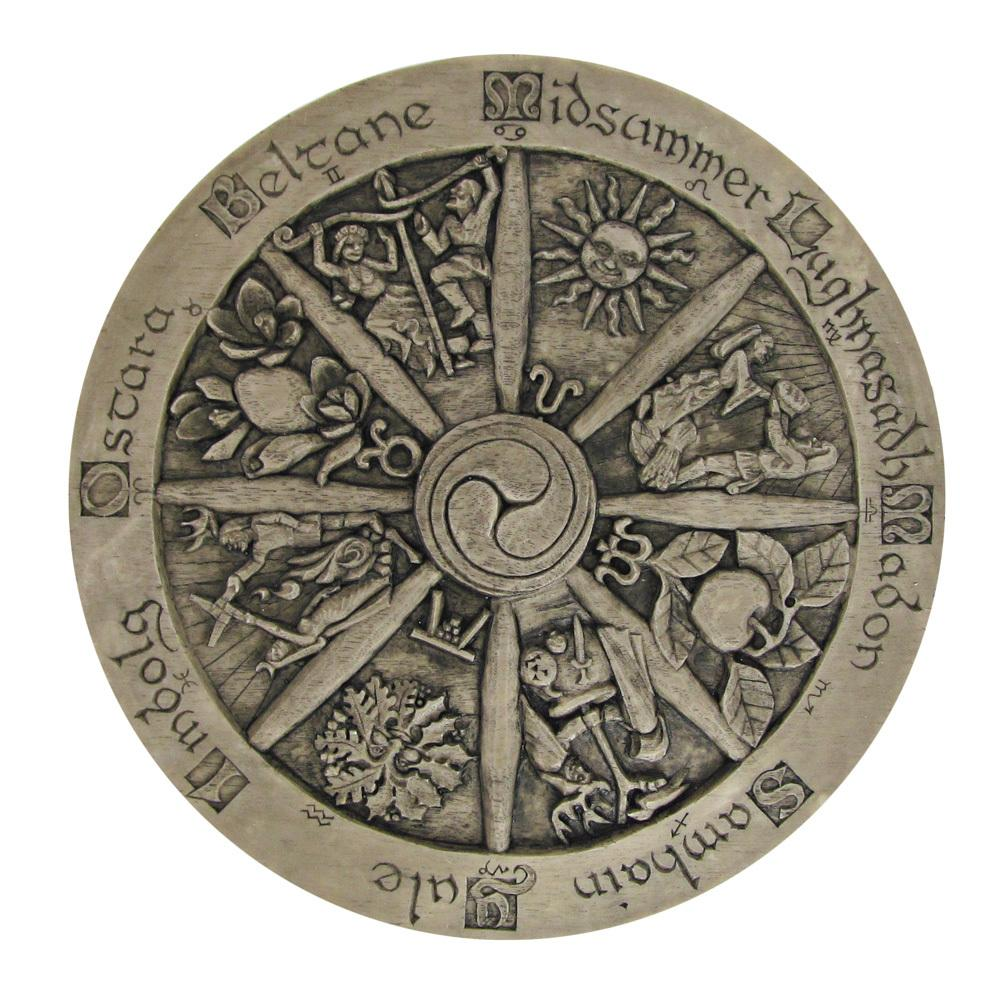 Wheel of the Year Plaque Stone Finish - Eclectic Artisans Wiccan Supplies Store