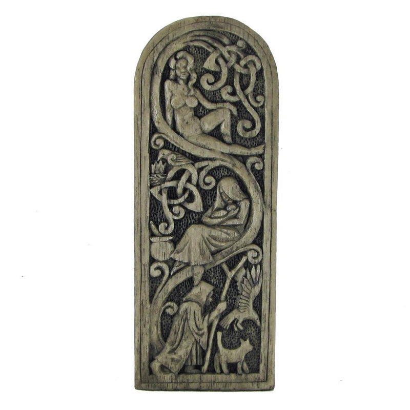 Wiccan Moon Goddess Statue Back Side - With Triple Goddess Aspects - Stone Finish - Paul Borda