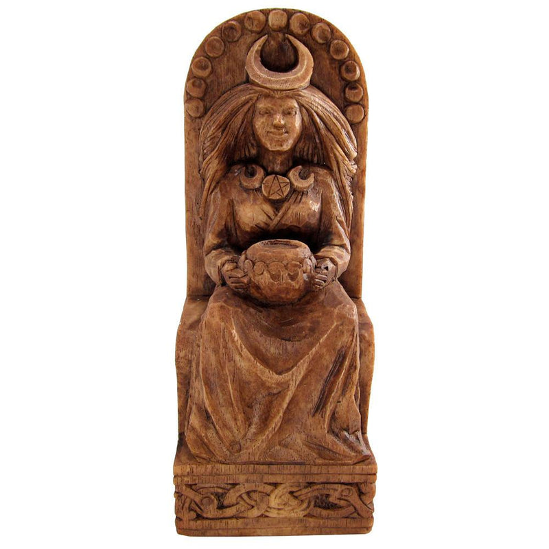 Pagan Moon Goddess Statue - With Crescent Moon - Wood Finish