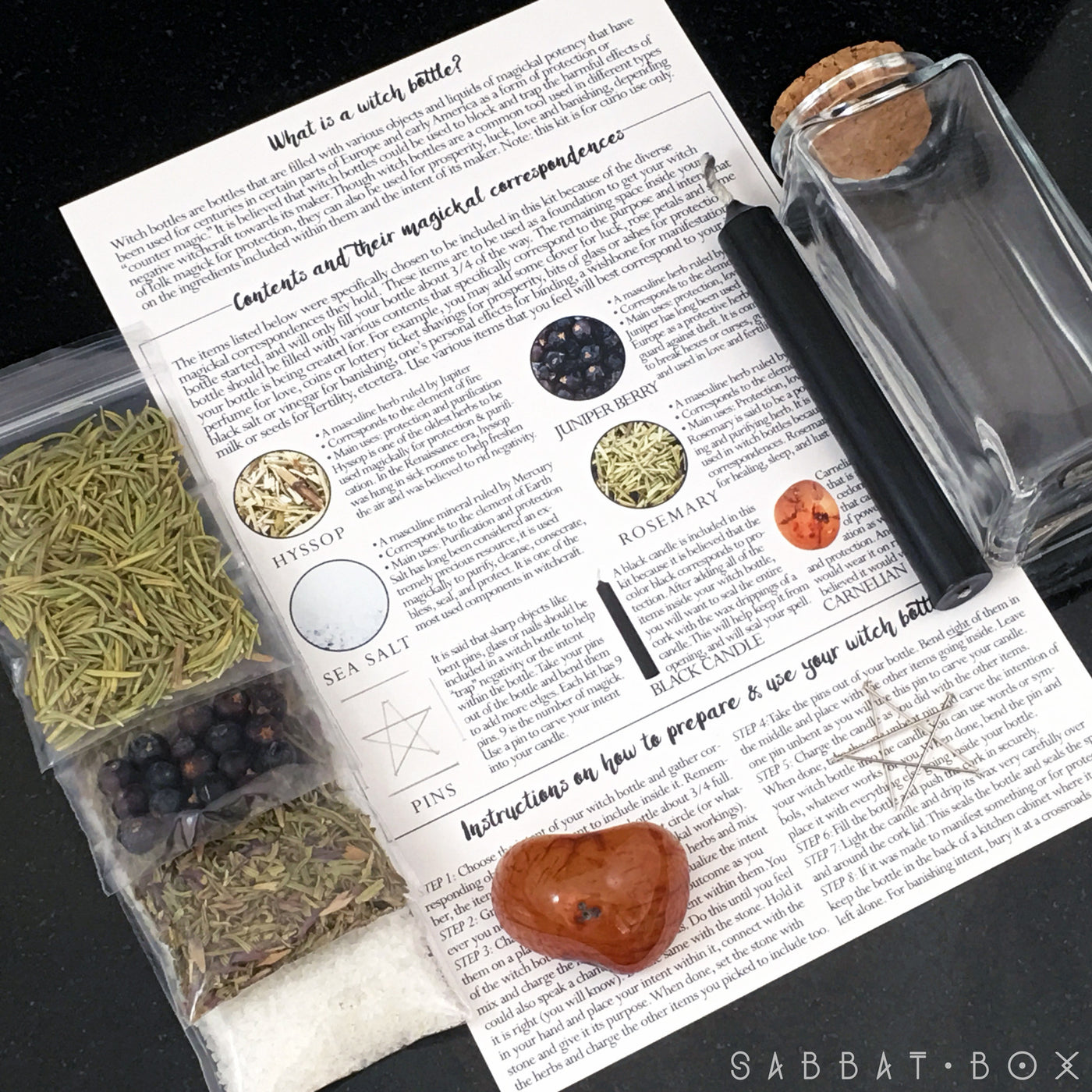 Witch Bottle Kit - With Correspondences and Instructions