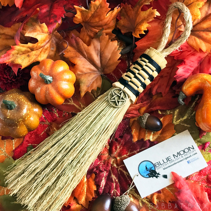 Witches' Altar Besom With Bronze Pentacle - Witch's Broom - Blue Moon Broom Brush and Besom - Sabbat Box