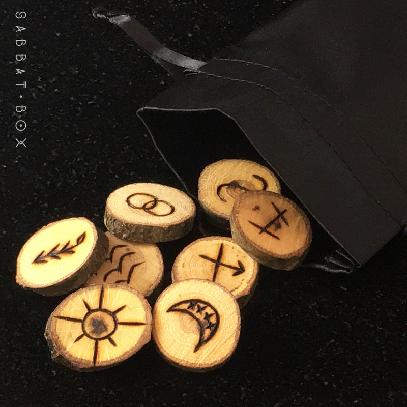 Hand Burned Witches Rune Set With Black Satin Bag