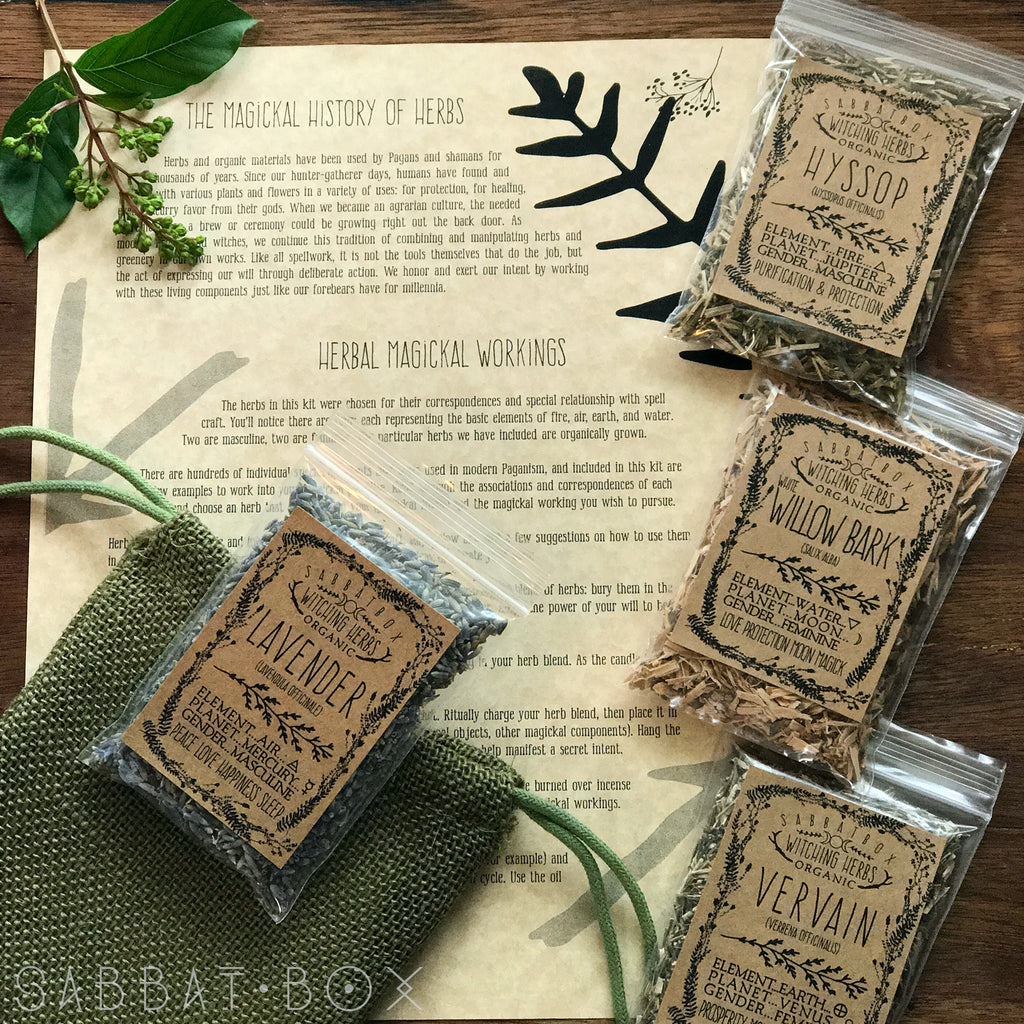 Sabbat Box Organic Witching Herbs Kit With Info Parchment and Jute Bag