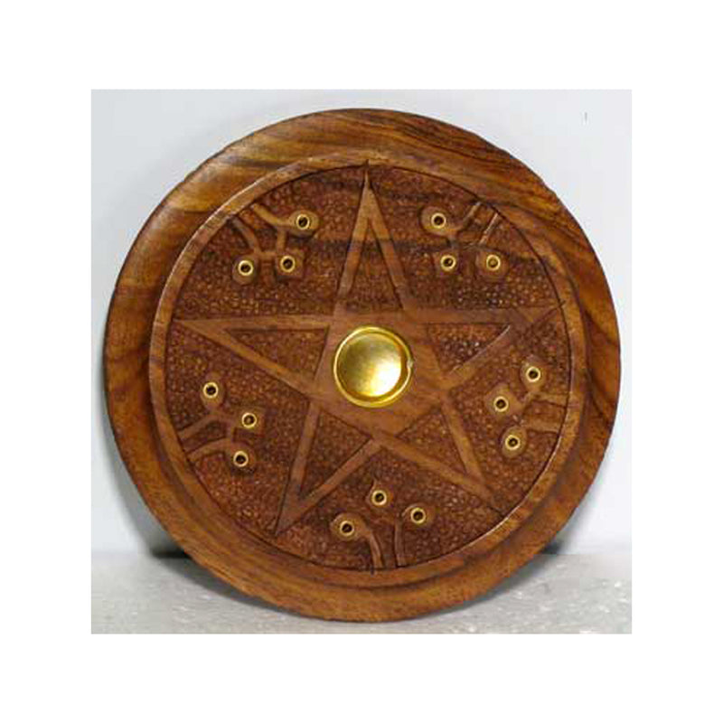 Wooden Pentacle Stick Incense Ash Catcher and Cone Burner