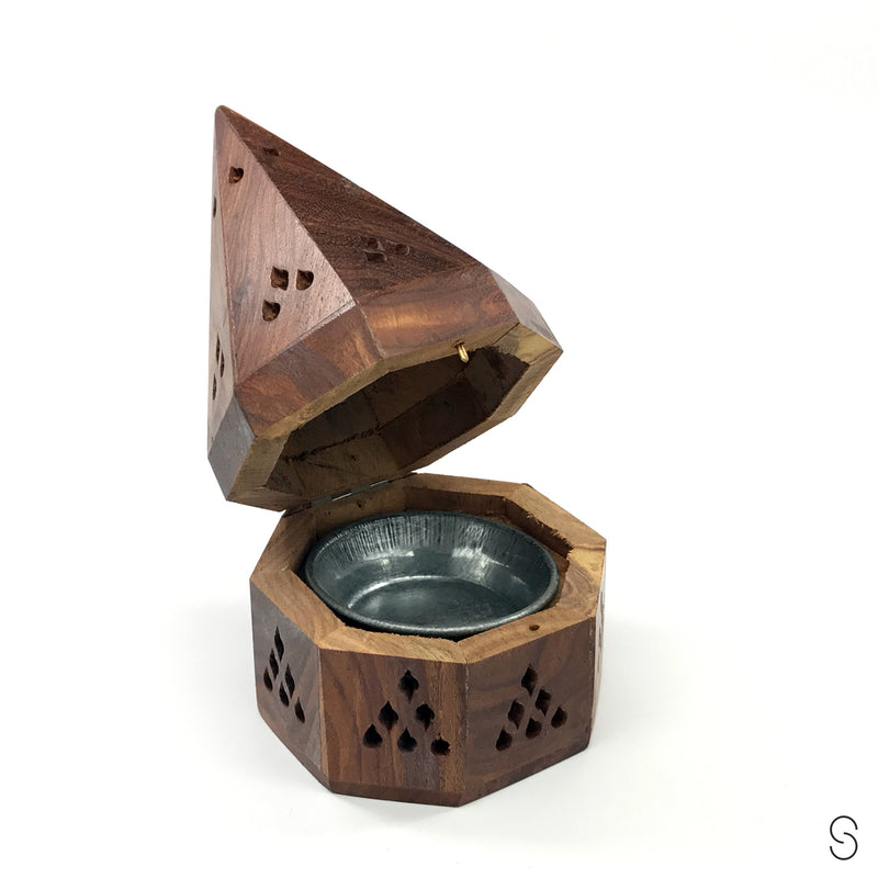 Wooden charcoal incense burner - charcoal incense holder with tray - Sabbat Box