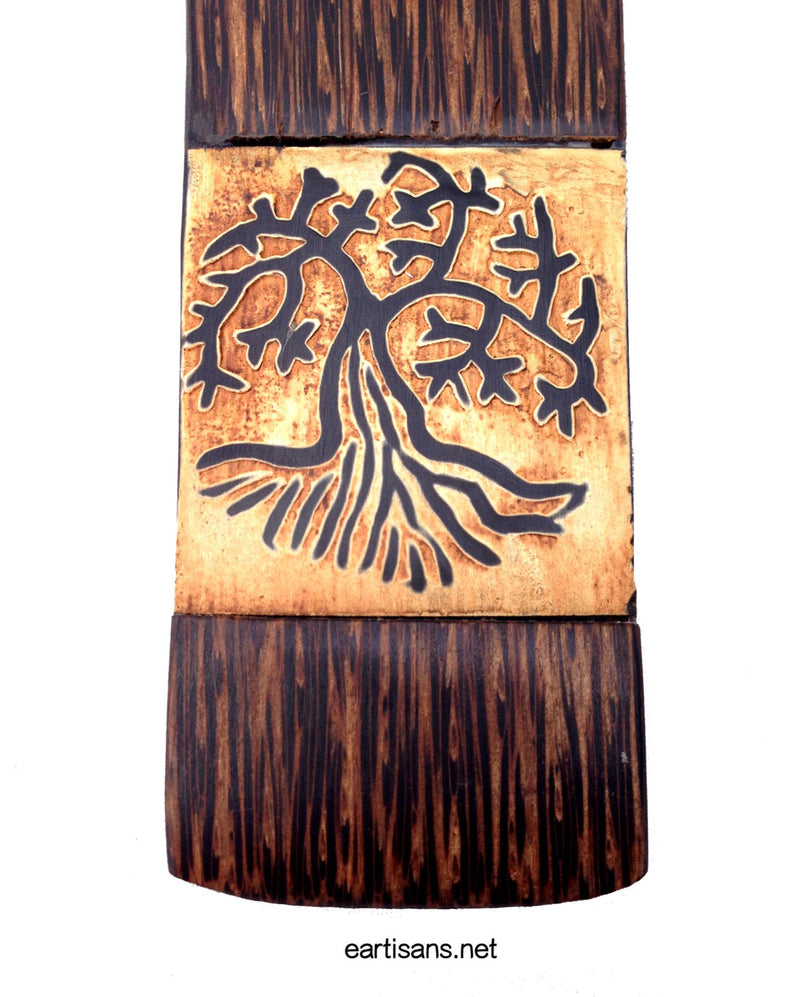 tree of life stick incense burner hand carved