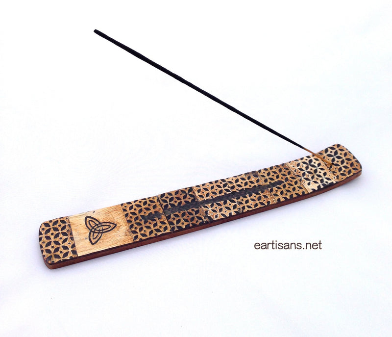 Horn and Wood Hand Carved Triquetra Stick Incense Holder