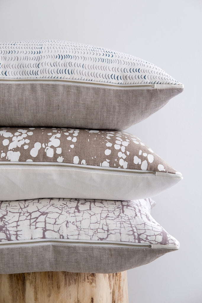blush nude navy marine white and natural pillows and fabrics printed on belgian linen