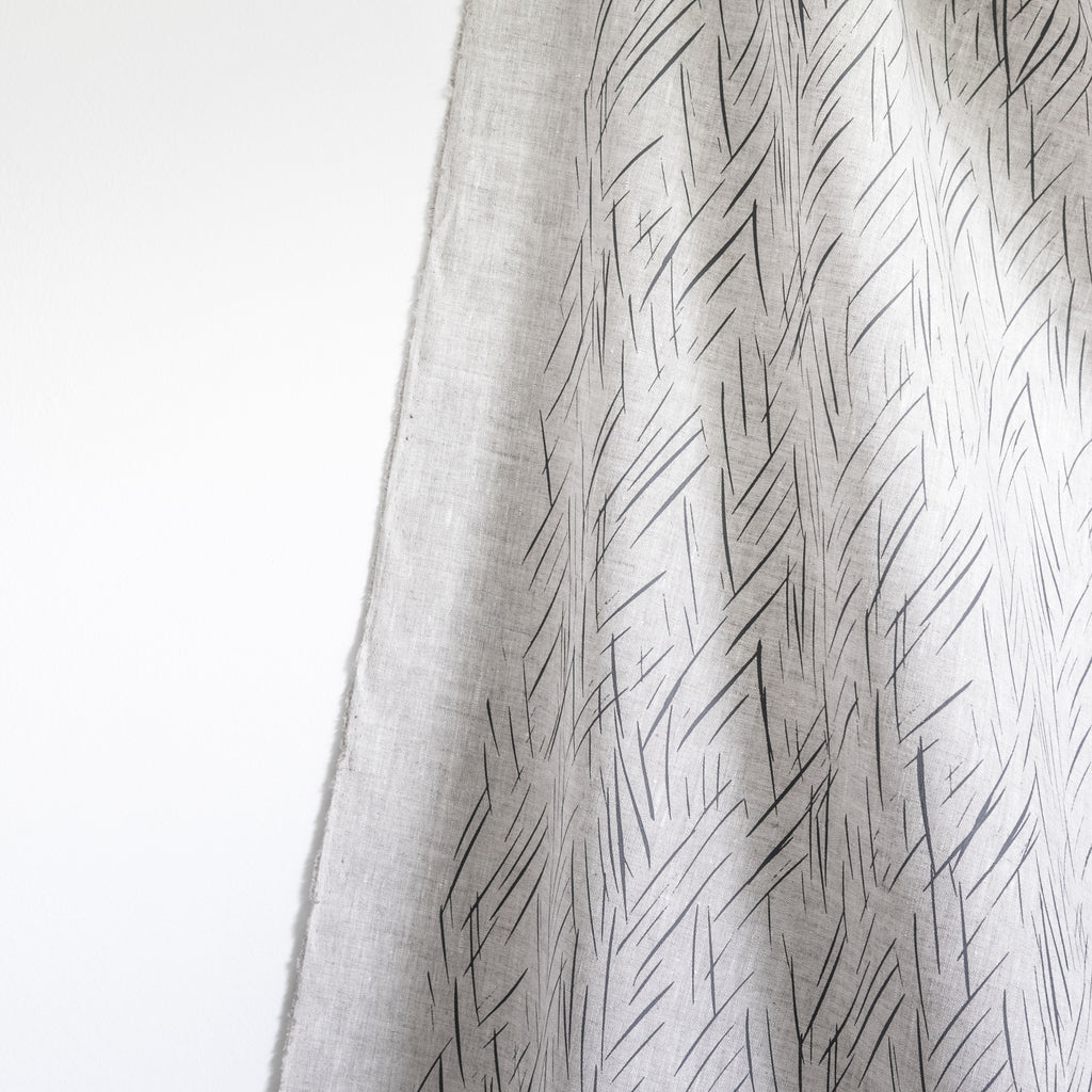 Sketched Stripe Fabric - Charcoal Gray on Oatmeal
