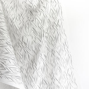 Sketched Stripe Fabric - Charcoal Gray on Oyster