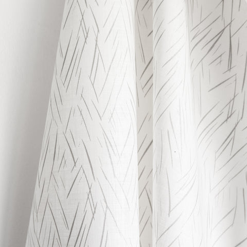 Sketched Stripe Fabric - Silver on Oyster